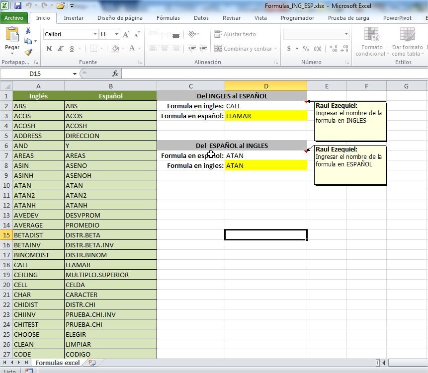 Excel - Equivalencia de Formulas Español - Ingles - Raul E