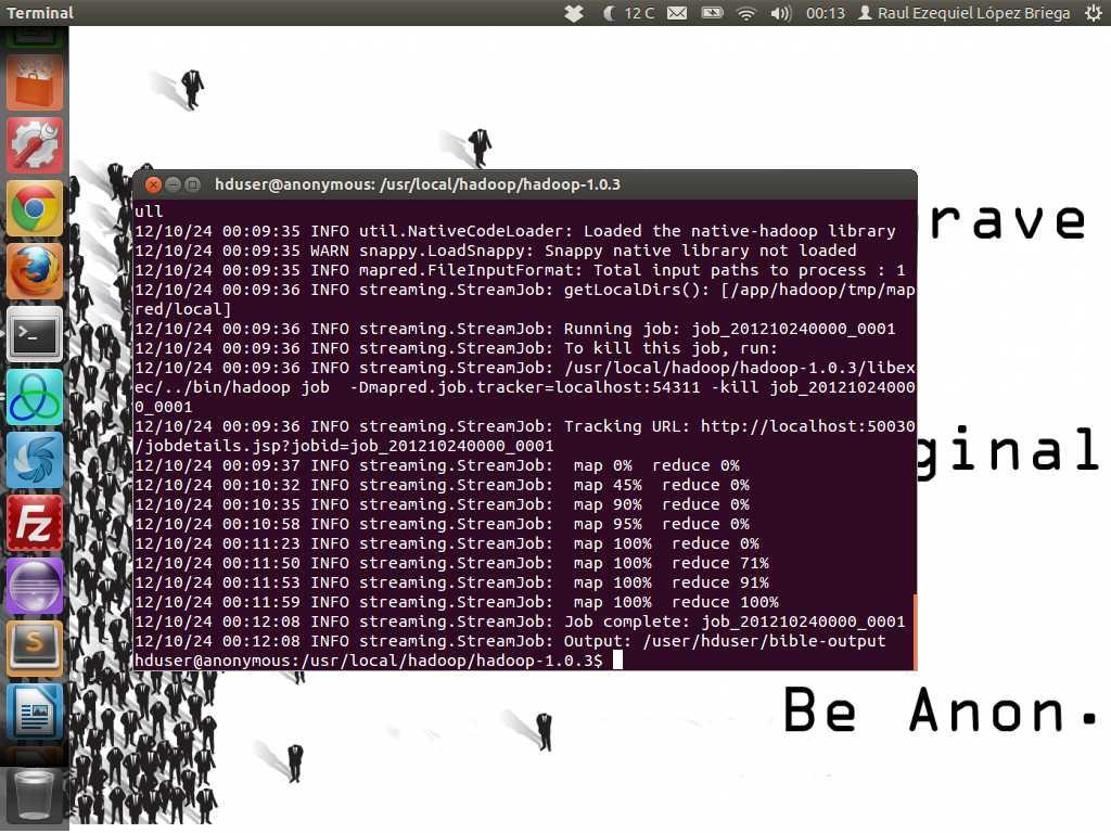 Ejecutando el trabajo MapReduce en Hadoop