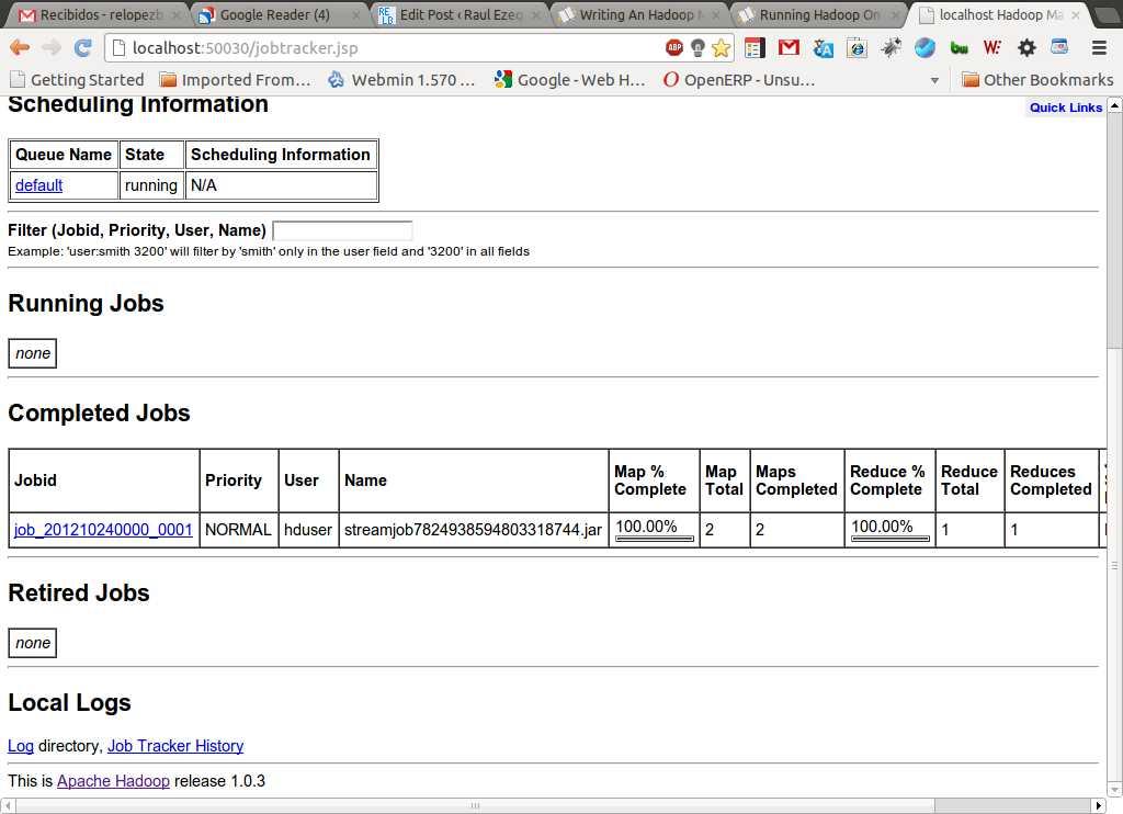 Vemos a traves de la interface web de hadoop que el trabajo termino.