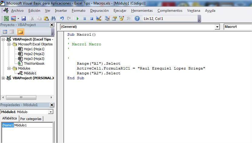 Código VBA generado por la grabadora de macro
