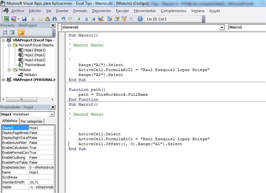 Código VBA generado por la grabadora de macro utilizando referencia relativa, vemos que es diferente al generado con referencias absolutas.