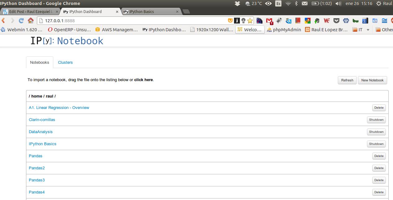 El Dashboard de IPython Notebook