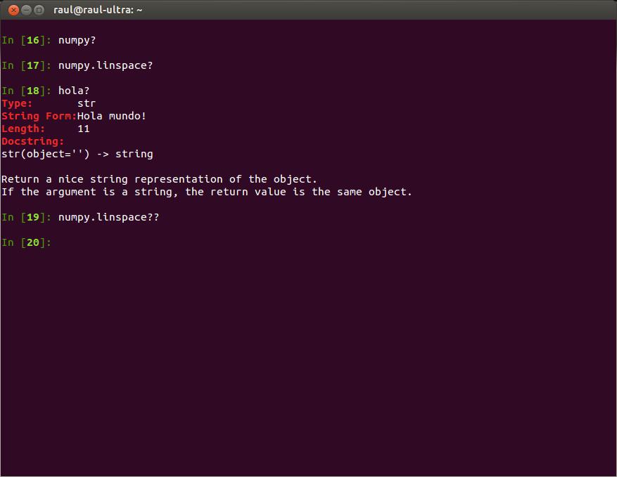 Utilizando la ayuda en IPython