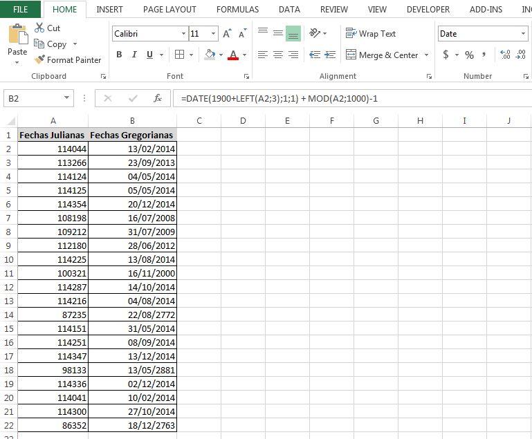 Formula puro Excel para convertir fecha juliana a gregoriana. Click sobre la imagen para descargar ejemplo