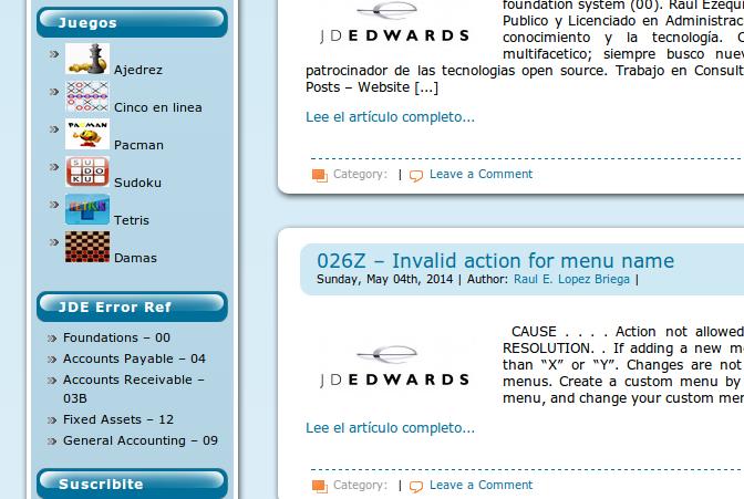 Accediendo a la biblioteca de errores desde la barra de la izquierda del sitio