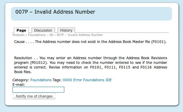 Layout de las páginas con el detalle de los errores, en la parte superior se puede ver a que modulo pertece; en la parte inferior se puede ingresar el mail para notificaciones de cambios