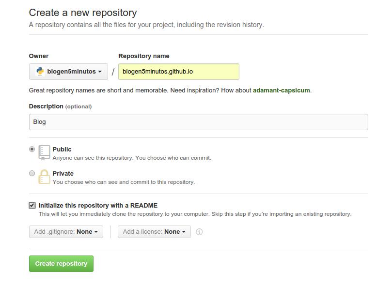Creando el repositorio de github pages