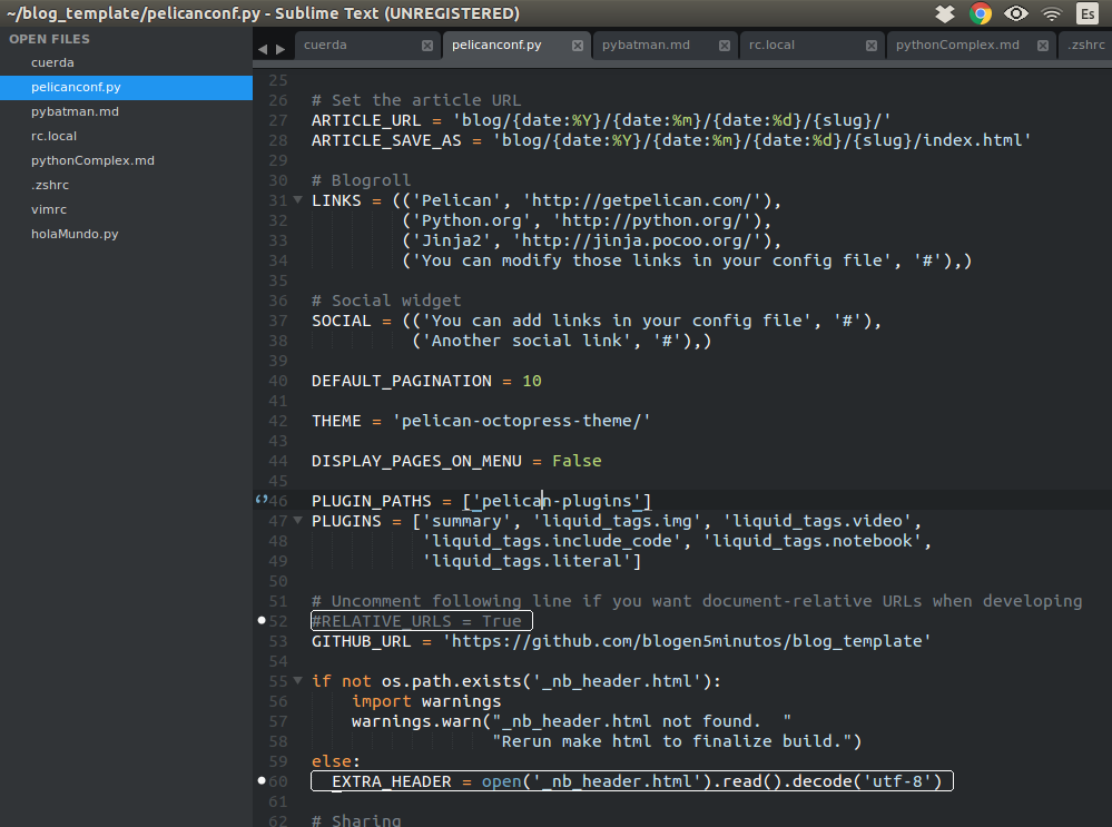 Archivo con las configuraciones básicas de pelican para generar el sitio
