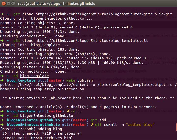 Los comandos que fuimos utilizando para generar el blog.